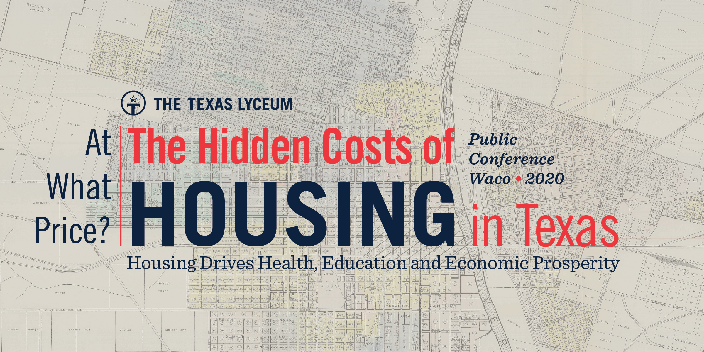 Map image with logo: At what price? The Hidden Costs of Housing in Texas